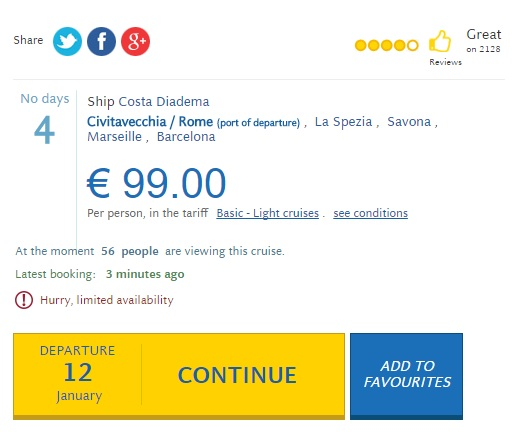 costa diadema cruise offer