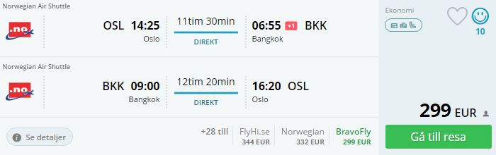 direct flights from oslo to thailand