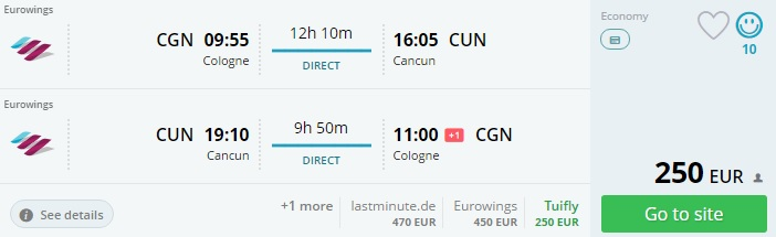 direct flights to cancun from cologne