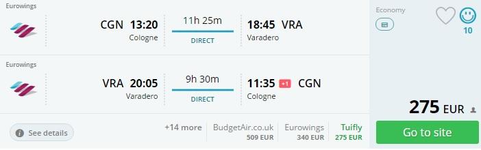 flights from cologne to varadero