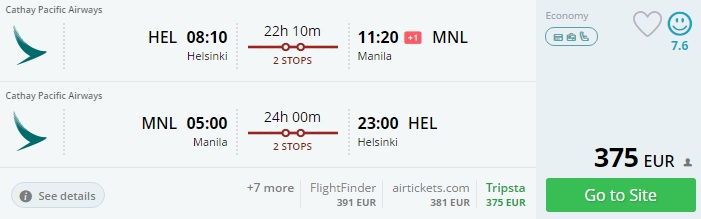 flights from helsinki to philippines