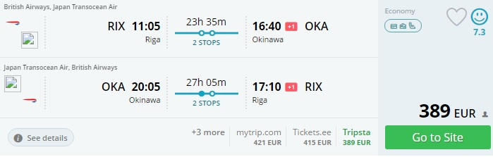 flights from riga to japan