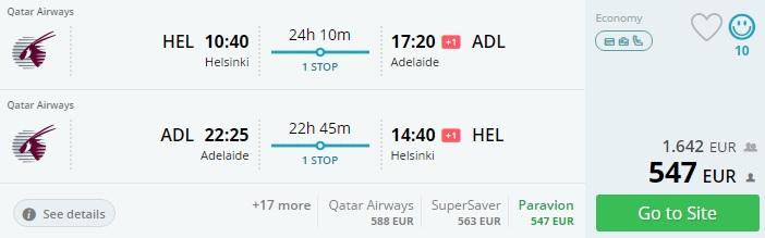 flights from scandinavia to australia