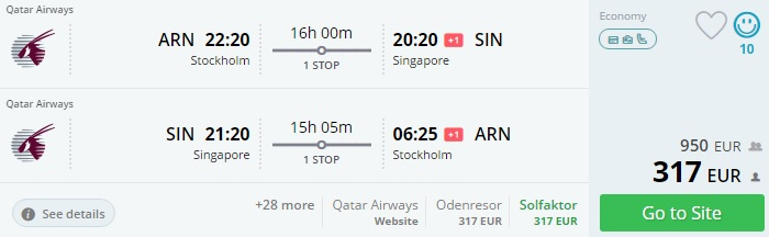 flights from scandinavia to singapore