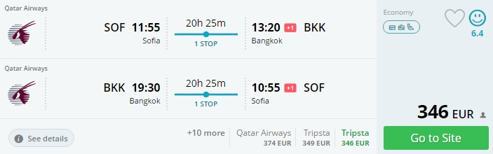 flights from sofia to thailand