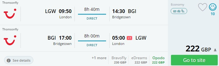 flights to barbados from london