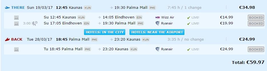 flights to palma de mallorca from lithuania
