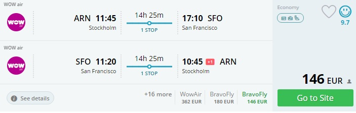 flights from europe to san francisco