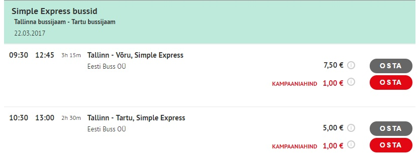 Simple Express Bus Tickets In Estonia For 1 Travelfree