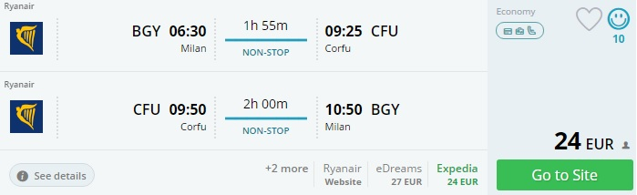 cheap flights from milan to corfu