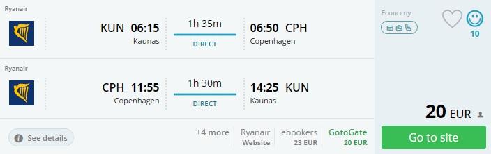 direct flights to copenhagen