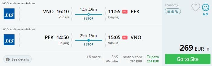 flights from baltics to china