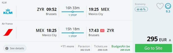 flights from brussels to mexico city