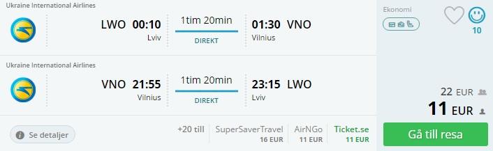 flights from lviv to vilnius