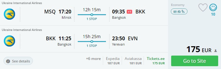 flights from minsk to bangkok