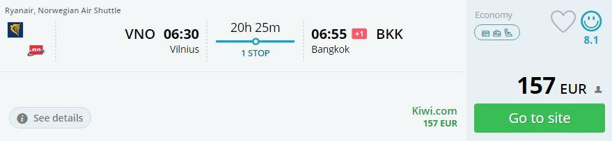flights from vilnius to thailand