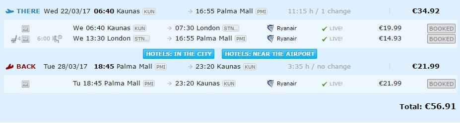 flights to palma de mallorca from kaunas