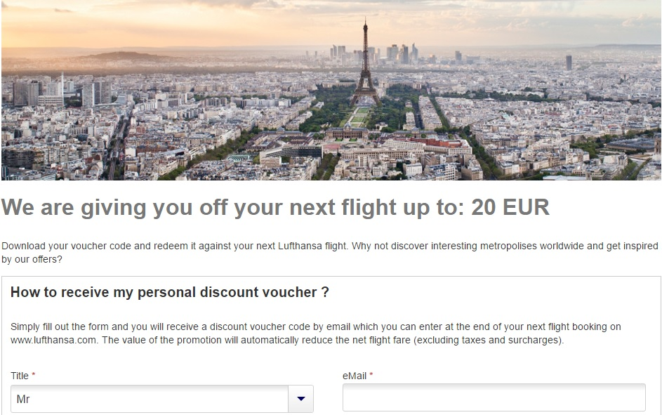 Lufthansa discount code flights 20 off from germany for Lufthansa direct flights to germany