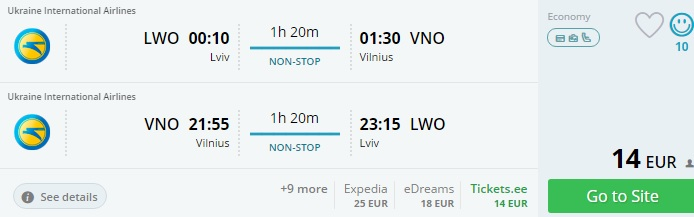 Cheap flights from Ukraine to Vilnius