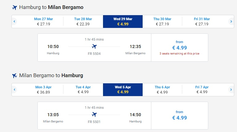 RYANAIR flights to ITALY from Germany
