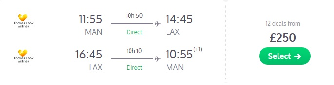 Thomas Cook FLASH SALE from Manchester to LOS ANGELES