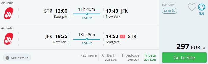 cheap flights from stuttgart to new york