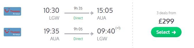 cheap flights to aruba from london
