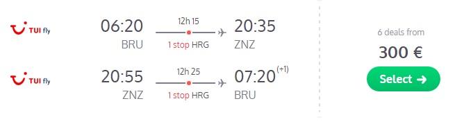 cheap flights to zanzibar from brussels