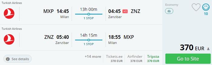 cheap flights to zanzibar from italy