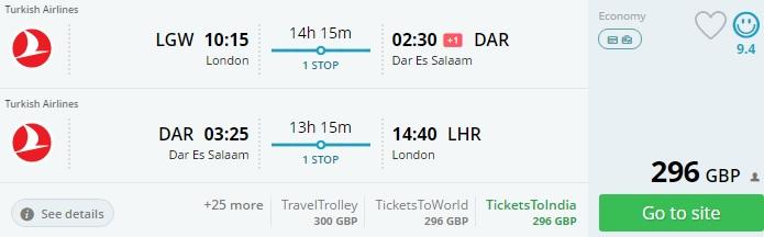 cheap flights to zanzibar from london