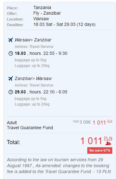 cheap flights to zanzibar from warsaw