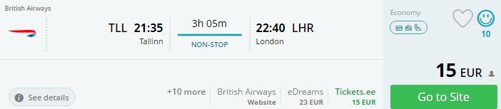 flights from tallinn to london