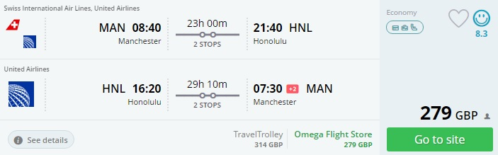 flights from the uk to hawaii