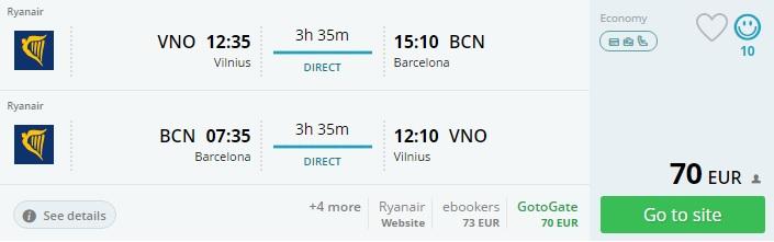 flights to barcelona from vilnius