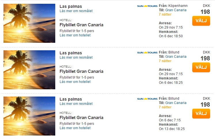 flights to canary islands from denmark