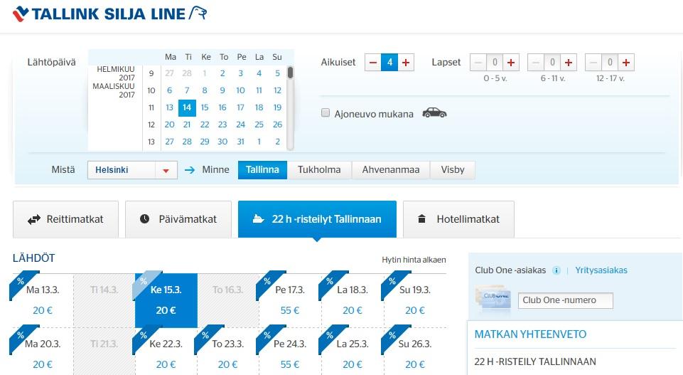 tallink cruise from helsinki to tallinn
