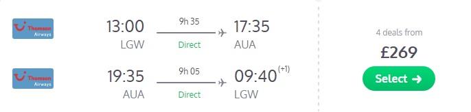 Cheap flight tickets to ARUBA from UK