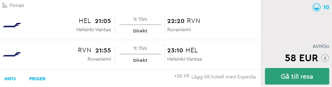 Cheap flights from Helsinki to LAPLAND new year
