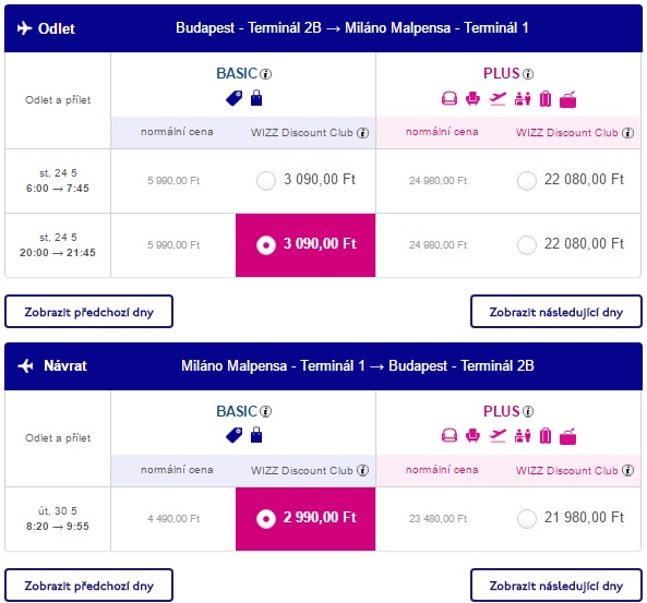 cheap flight tickets from budapest to milan