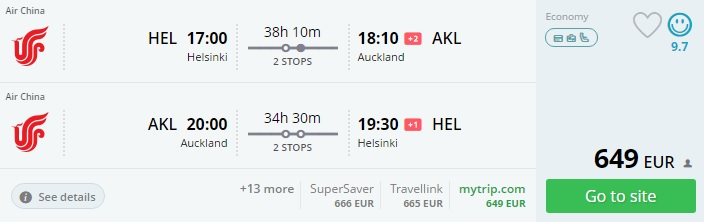 cheap flights from helsinki to new zealand
