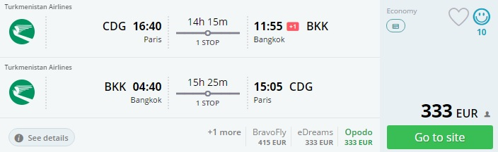 cheap flights from paris to bangkok