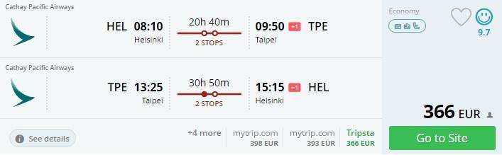 cheap flights to taiwan from helsinki