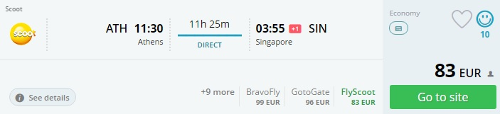 flight tickets to singapore from athens