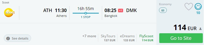 flights from athens to thailand