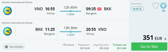 flights from lithuania to thailand