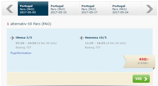 flights from stockholm to faro