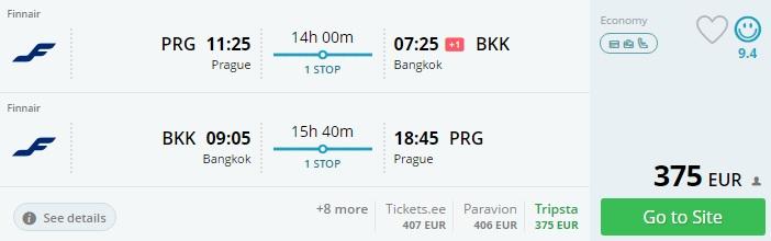 high season flights to bangkok from prague