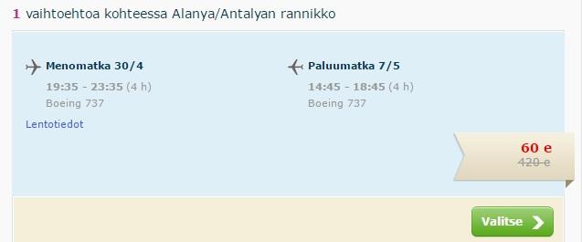 last minute flights to antalya from helsinki