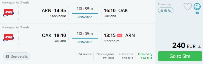 non stop flights to san francisco from stockholm