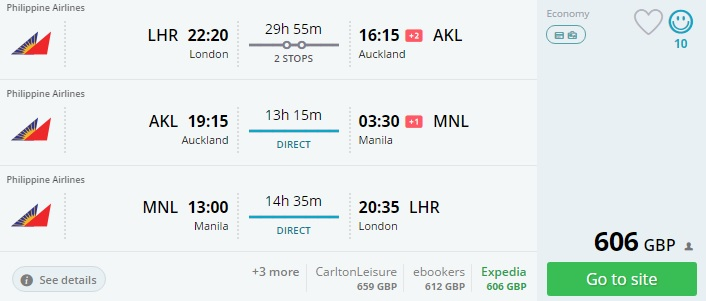 trip from london to new zealand